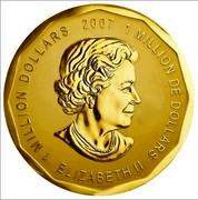 Canada Million Dollars Elizabeth II 2007 KM# 755 1 MILLION DOLLARS 2007 1 MILLION DE DOLLARS ELIZABETH II coin obverse