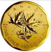 Canada Million Dollars Elizabeth II 2007 KM# 755 99999 99999 SW FINE GOLD 100 KG OR PUR coin reverse