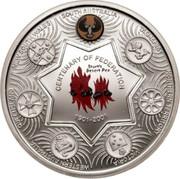 "Australia One Dollar Centenary of Federation ""Holey Dollar"" - South Australia 2001 KM# 598c NEW SOUTH WALES SOUTH AUSTRALIA TASMANIA NORTHERN TERRITORY VICTORIA WESTERN AUSTRALIA QUEENSLAND CENTENARY OF FEDERATION 1901-2001 coin reverse"