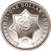 "Australia One Dollar Centenary of Federation ""Holey Dollar"" - Victoria 2001 KM# 598d ELIZABETH II • ONE DOLLAR • AUSTRALIA THE PERTH MINT EST. 1899 coin obverse"