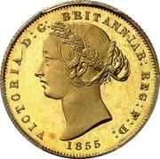 Australia One Sovereign Victoria Queen. Pattern 1855 KM# Pn4 VICTORIA D: G: BRITANNIAR: REG: F: D: 1855 coin obverse