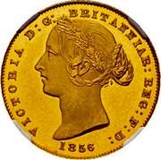 Australia One Sovereign Victoria Queen. Pattern 1856 KM# Pn6 VICTORIA D: G: BRITANNIAR: REG: F: D: 1856 coin obverse