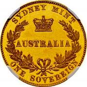 Australia One Sovereign Victoria Queen. Pattern 1856 KM# Pn6 SYDNEY MINT AUSTRALIA ONE SOVEREIGN coin reverse