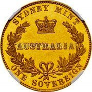 Australia One Sovereign (Victoria Queen. Pattern) KM# Pn6 coin reverse