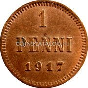 Finland Penni 1917 KM# 16 Kerenski Government Issue coin reverse