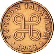 Finland Penni 1963 Struck at Leningrad Mint KM# 44 Reform Coinage SUOMEN TASAVALTA DATE coin obverse