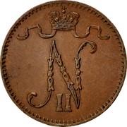 Finland Penni Nikolai II 1907 Normal 7 KM# 13 N II coin obverse
