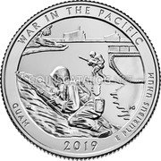 USA Quarter Dollar (War in the Pacific National Historical Park (Guam)) WAR IN THE PACIFIC GUAM 2019 E PLURIBUS UNUMั MG JI coin reverse