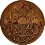 Latvia Santims 1928 Without mint name below ribbon KM# 1 First Republic (1918-1939) LATVIJA coin obverse