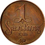 Latvia Santims 1928 Without mint name below ribbon KM# 1 First Republic (1918-1939) 1 SANTIMS 1926 coin reverse
