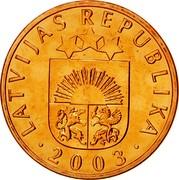 Latvia Santims 2003 KM# 15 Standart Coinage LATVIJAS REPUBLIKA YEAR coin obverse