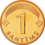 Latvia Santims 2003 KM# 15 Standart Coinage 1 SANTĪMS coin reverse