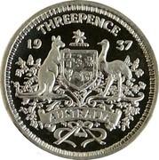 Australia Threepence Pattern 1937 KM# Pn25 THREEPENCE 19 37 AUSTRALIA coin reverse