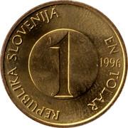 Slovenia Tolar 1996 KM# 4 Standart Coinage REPUBLIKA SLOVENIJA EN TOLAR 1 2000 coin obverse
