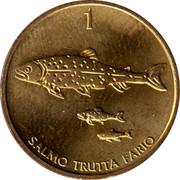 Slovenia Tolar 1996 KM# 4 Standart Coinage SALMO TRUTTA FARIO coin reverse