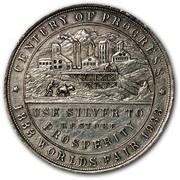 USA Trade Mark Colorado Century of Progress 1933 CENTURY OF PROGRESS 1888 ∙ WORLDS ∙ FAIR ∙ 1933 USE SILVER TO PROSPERITY coin obverse