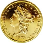 USA Twenty Dollars Quintuple Stella 1879 KM# Pn1728 ✶30✶G✶1.5✶S✶3.5✶C✶35✶G✶R✶A✶M✶S✶ LIBERTY 1879 coin obverse