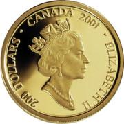 Canada 200 Dollars Cornelius Krieghoff - The Habitant Farm 2001 KM# 418 200 DOLLARS ∙ CANADA 2001 ∙ ELIZABETH II coin obverse