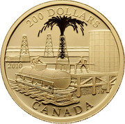 Canada 200 Dollars Petroleum and Oil Trade 2010 KM# 1000 200 DOLLARS 2010 CANADA JM coin reverse