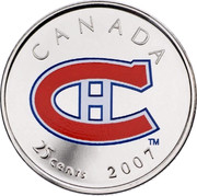 Canada 25 Cents Montreal Canadians 2007 Maple leaf Prooflike KM# 723 CANADA CH 25 CENTS 2007 coin reverse