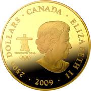 Canada 2500 Dollars Modern Canada 2009 KM# 902a 2500 DOLLARS ∙ CANADA ∙ ELIZABETH II ∙ 2009 ∙ VANCOUVER 2010 TM / MC coin obverse