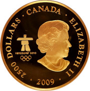 Canada 2500 Dollars Surviving the Flood 2009 KM# 912 2500 DOLLARS ∙ CANADA ∙ ELIZABETH II ∙ 2009 ∙ SB VANCOUVER 2010 TM / MC coin obverse
