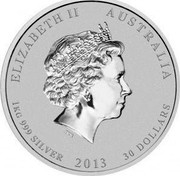 Australia 30 Dollars Year of the Snake 2013 P Proof KM# 1834 ELIZABETH AUSTRALIA 1 KG 999 SILVER 2013 30 DOLLARS coin obverse