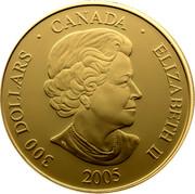 Canada 300 Dollars Welcome Figure Totem Pole 2005 KM# 600 300 DOLLARS ∙ CANADA ∙ ELIZABETH II 2005 SB coin obverse