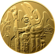 Canada 300 Dollars Welcome Figure Totem Pole 2005 KM# 600 - coin reverse