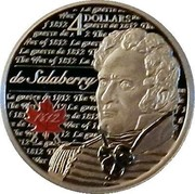 Canada 4 Dollars War of 1812 - Charles-Michel de Salaberry 2013 Proof KM# 1356 4 DOLLARS LA GUERRE DE 1812 THE WAR OF 1812 DE SALABERRY 1812 (OVER RED MAPLE LEAF) coin reverse