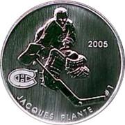 Canada 50 Cents Jaque Plante 2005 Proof, Specimen KM# 578 2005 JACQUES PLANTE #1 coin reverse
