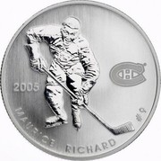 Canada 50 Cents Montreal Canadians 2005 Proof, Specimen KM# 580 2005 MAURICE PICHARD #9 coin reverse