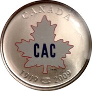 Canada 50 Cents Montreal Canadiens 2009 KM# 859 CANADA CAC 1909-2009 coin reverse