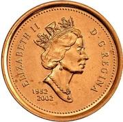 Canada 1 Cent Elizabeth II 3rd portrait 1952-2002 KM# 445 ELIZABETH II D∙G∙REGINA 1952 2002 coin obverse