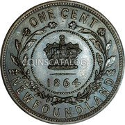 Canada 1 Cent Victoria 1864H KM# Pn2 ONE CENT 1864 NEWFOUNDLAND coin reverse