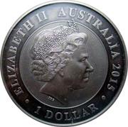 Australia 1 Dollar 25th anniversary Australian Kookaburra (Colorized) 2015 ELIZABETH II AUSTRALIA • 1 DOLLAR • IRB coin obverse