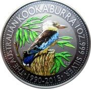 Australia 1 Dollar 25th anniversary Australian Kookaburra (Colorized) 2015 THE AUSTRALIAN KOOKABURRA 1OZ. 999 SILVER • 1990-2015 • P25 coin reverse