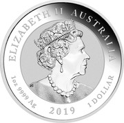 Australia 1 Dollar 50th Anniversary of the Moon Landing 2019 P ELIZABETH II AUSTRALIA 1OZ 9999 AG 2019 1 DOLLAR J.C coin obverse