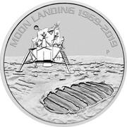 Australia 1 Dollar 50th Anniversary of the Moon Landing 2019 P MOON LANDING 1969-2019 P coin reverse