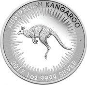 Australia 1 Dollar (Australian Kangaroo) AUSTRALIAN KANGAROO 2017 1OZ 9999 SILVER coin reverse