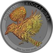 Australia 1 Dollar Australian Kookaburra (Gold Hologram) 2018 P AUSTRALIAN KOOKABURRA 2018 1OZ 9999 SILVER P coin reverse