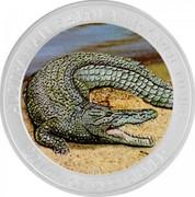 Australia 1 Dollar Australian Saltwater Crocodile (Colorized) 2014 P AUSTRALIAN SALTWATER CROCODILE 2014 1OZ 999 SILVER P coin reverse