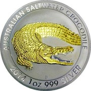 Australia 1 Dollar Australian Saltwater Crocodile (Gilded) 2014 P AUSTRALIAN SALTWATER CROCODILE 2014 1OZ 999 SILVER P coin reverse