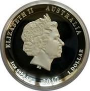Australia 1 Dollar (Dragon & Phoenix. High Relief) ELIZABETH II AUSTRALIA IRB 1OZ 9999 AG 2017 1 DOLLAR coin obverse