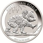 Australia 1 Dollar (Koala) AUSTRALIAN KOALA 2016 1OZ 999 SILVER coin reverse