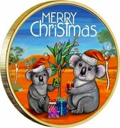 Australia 1 Dollar Merry Christmas Koala (Coin & Stamp) 2018 P MERRY CHRISTMAS P AH coin reverse