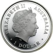 Australia 1 Dollar Two kookaburras on branch (Colorized) 2005 Proof ELIZABETH II AUSTRALIA 1 DOLLAR IRB coin obverse