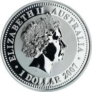Australia 1 Dollar Year of the Ox 2007 Proof ELIZABETH II AUSTRALIA 1 DOLLAR 2007 coin obverse