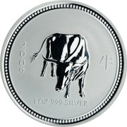 Australia 1 Dollar Year of the Ox 2007 Proof 2009 1 OZ 999 SILVER coin reverse
