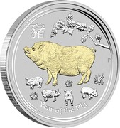 Australia 1 Dollar Year of the Pig (2019 Gilded) 2019 P YEAR OF THE PIG P coin reverse